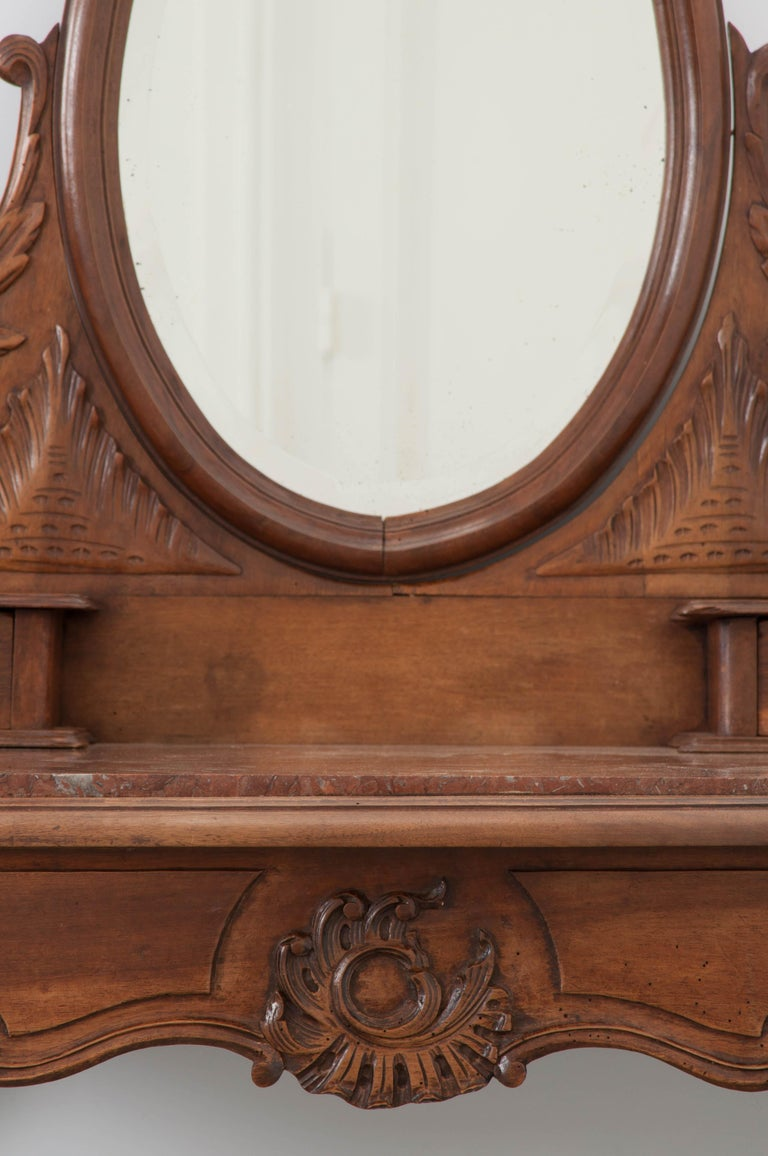 Mirror French, 19th Century Louis XV Style Walnut Vanity For Sale