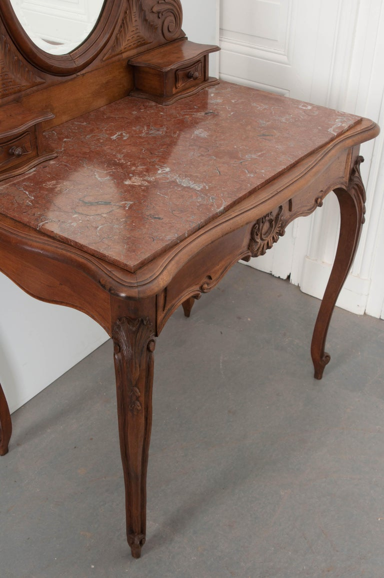 French, 19th Century Louis XV Style Walnut Vanity For Sale 2