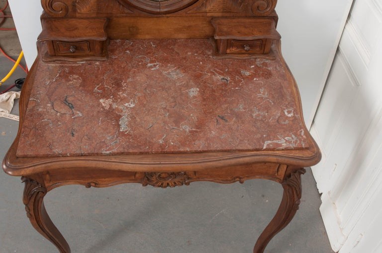 French, 19th Century Louis XV Style Walnut Vanity For Sale 3