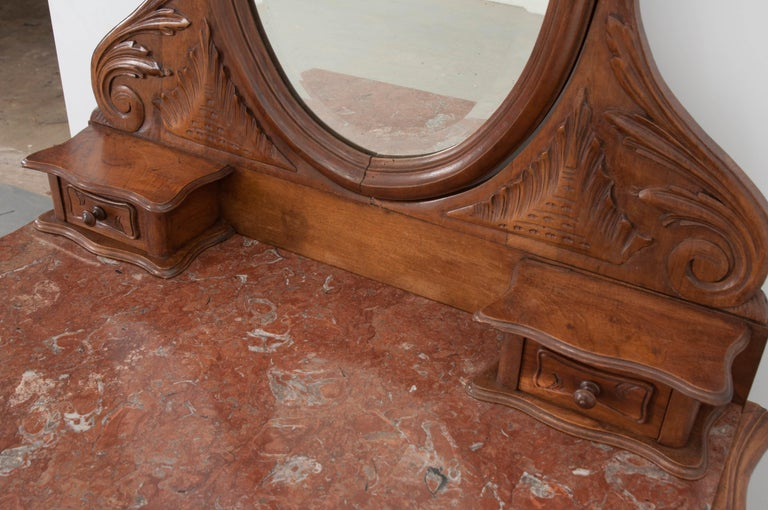 French, 19th Century Louis XV Style Walnut Vanity For Sale 6