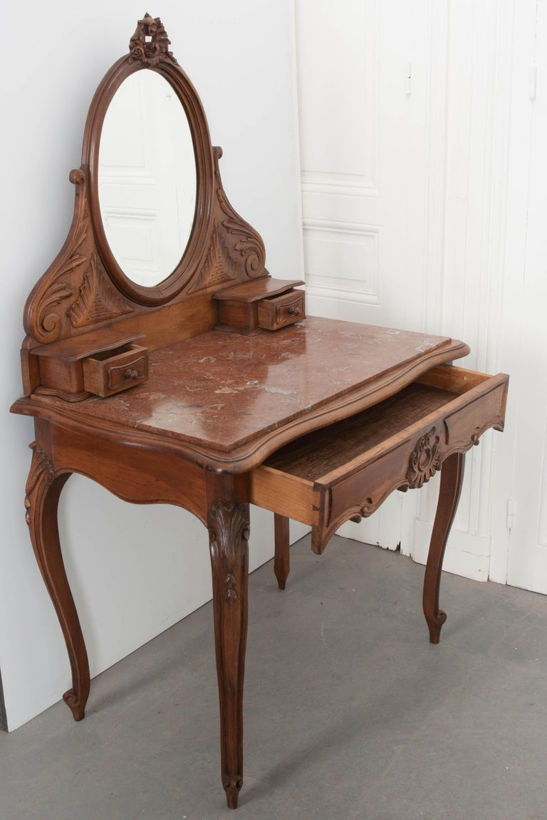 French, 19th Century Louis XV Style Walnut Vanity For Sale 7