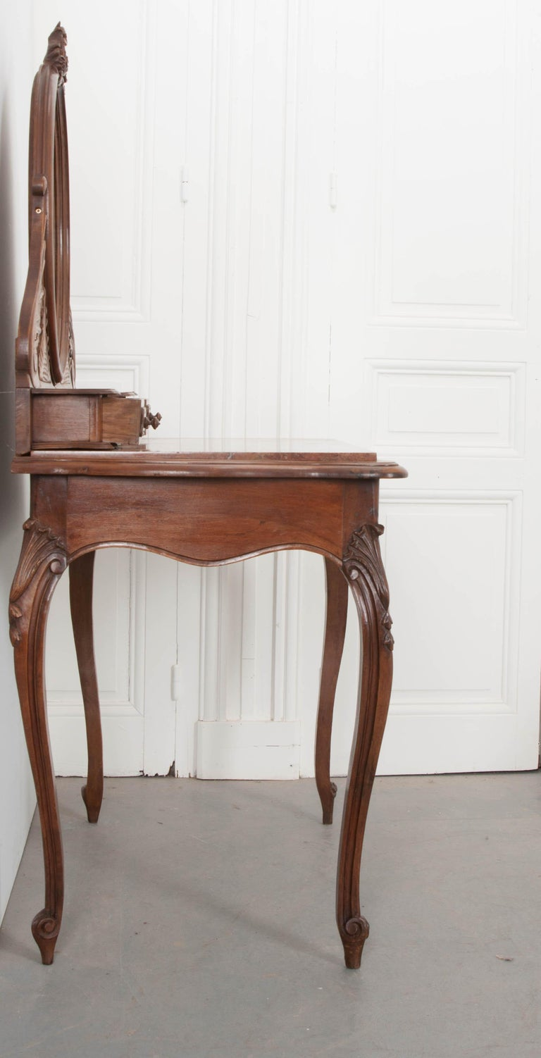 French, 19th Century Louis XV Style Walnut Vanity For Sale 8