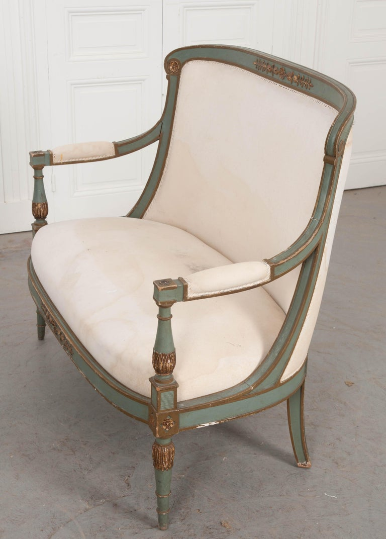 French 19th Century Parcel-Gilt Empire Settee For Sale 6