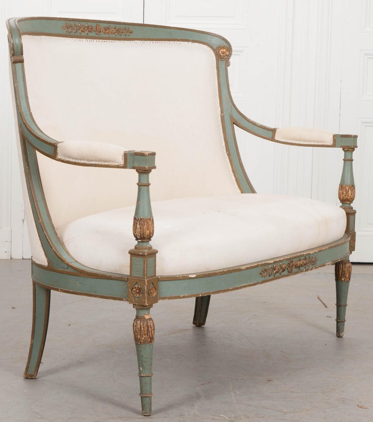French 19th Century Parcel-Gilt Empire Settee For Sale 9