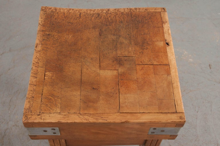 Steel French 19th Century Butcher Block Table For Sale