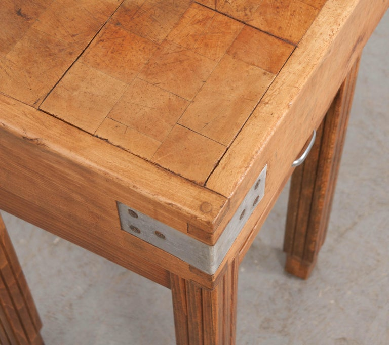 French 19th Century Butcher Block Table For Sale 1