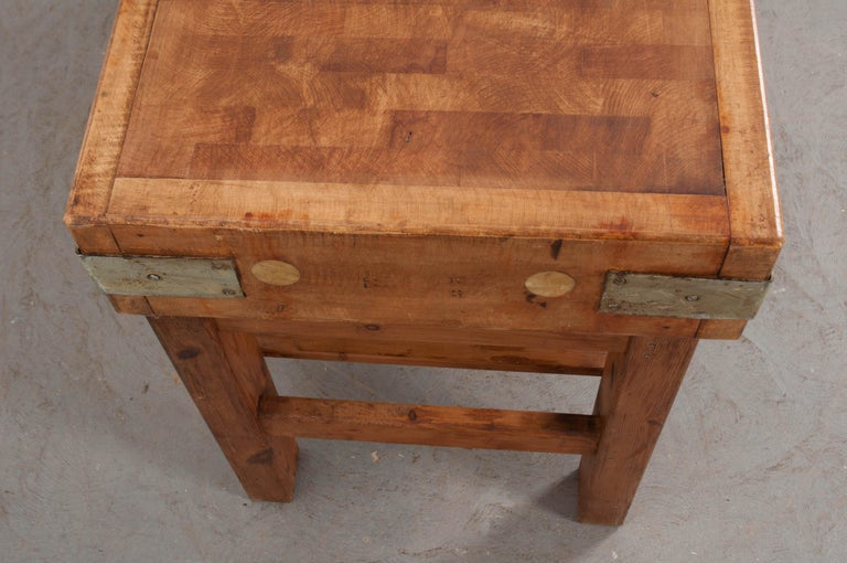 Steel French Early 20th Century Pine Butcher Block For Sale