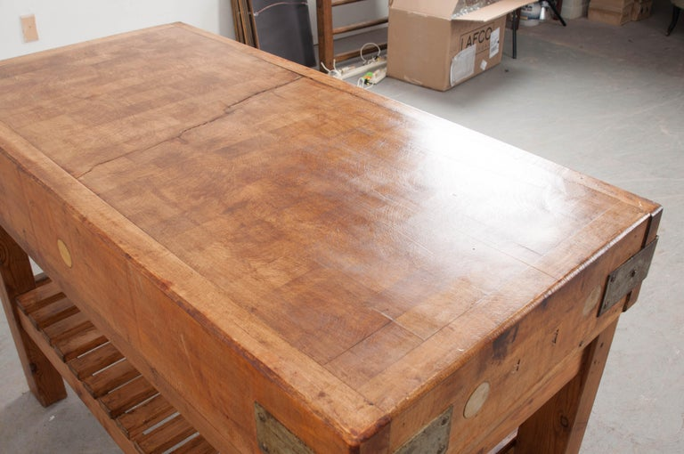 French Early 20th Century Pine Butcher Block For Sale 2