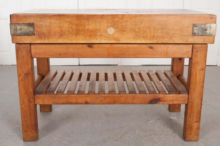 French Early 20th Century Pine Butcher Block For Sale 10