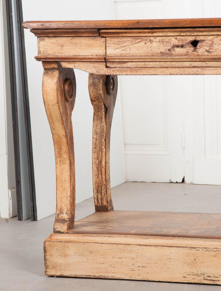 Hardwood French 19th Century Painted Drapery Table For Sale