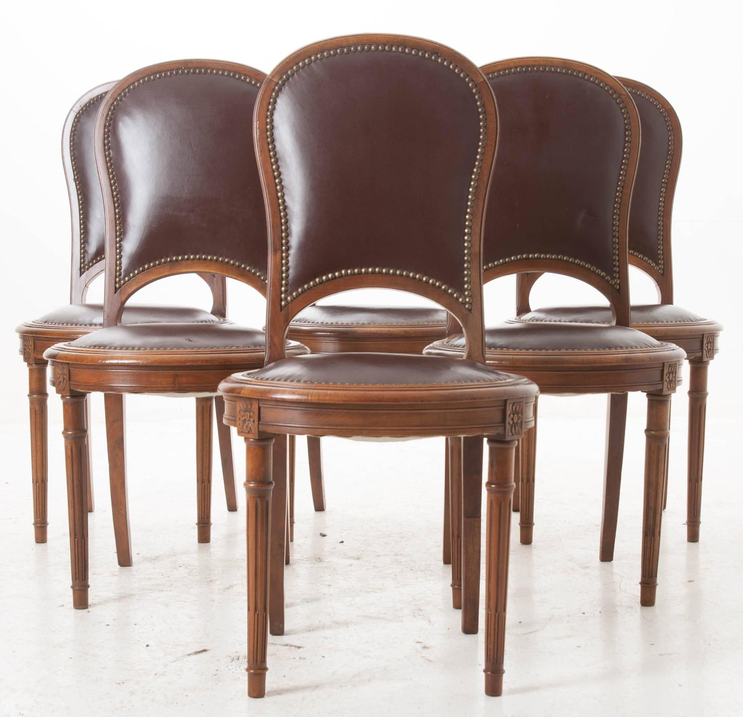 Set Of Six Louis XVI Walnut Balloon Back Dining Chairs At 1stdibs
