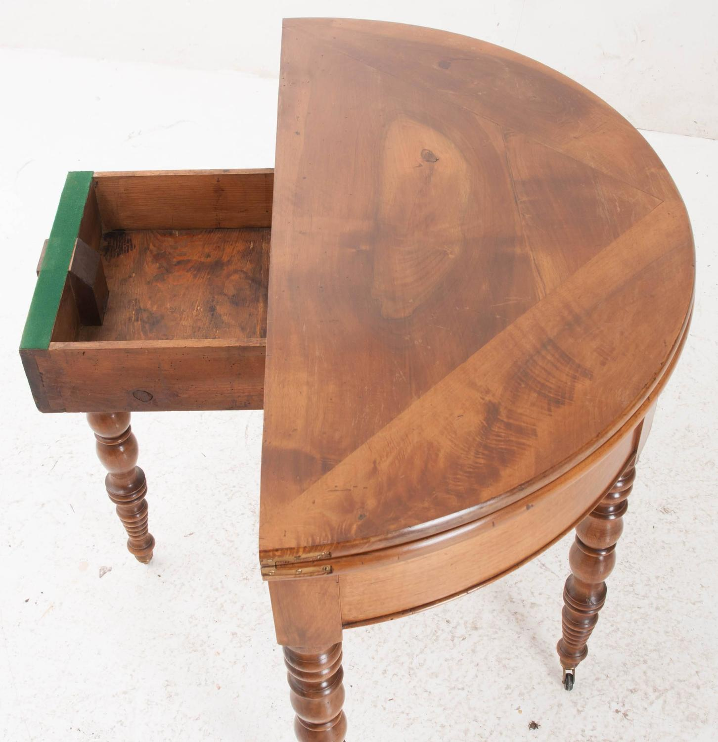 French 19th century folding demilune table with drawer at for Table console retractable