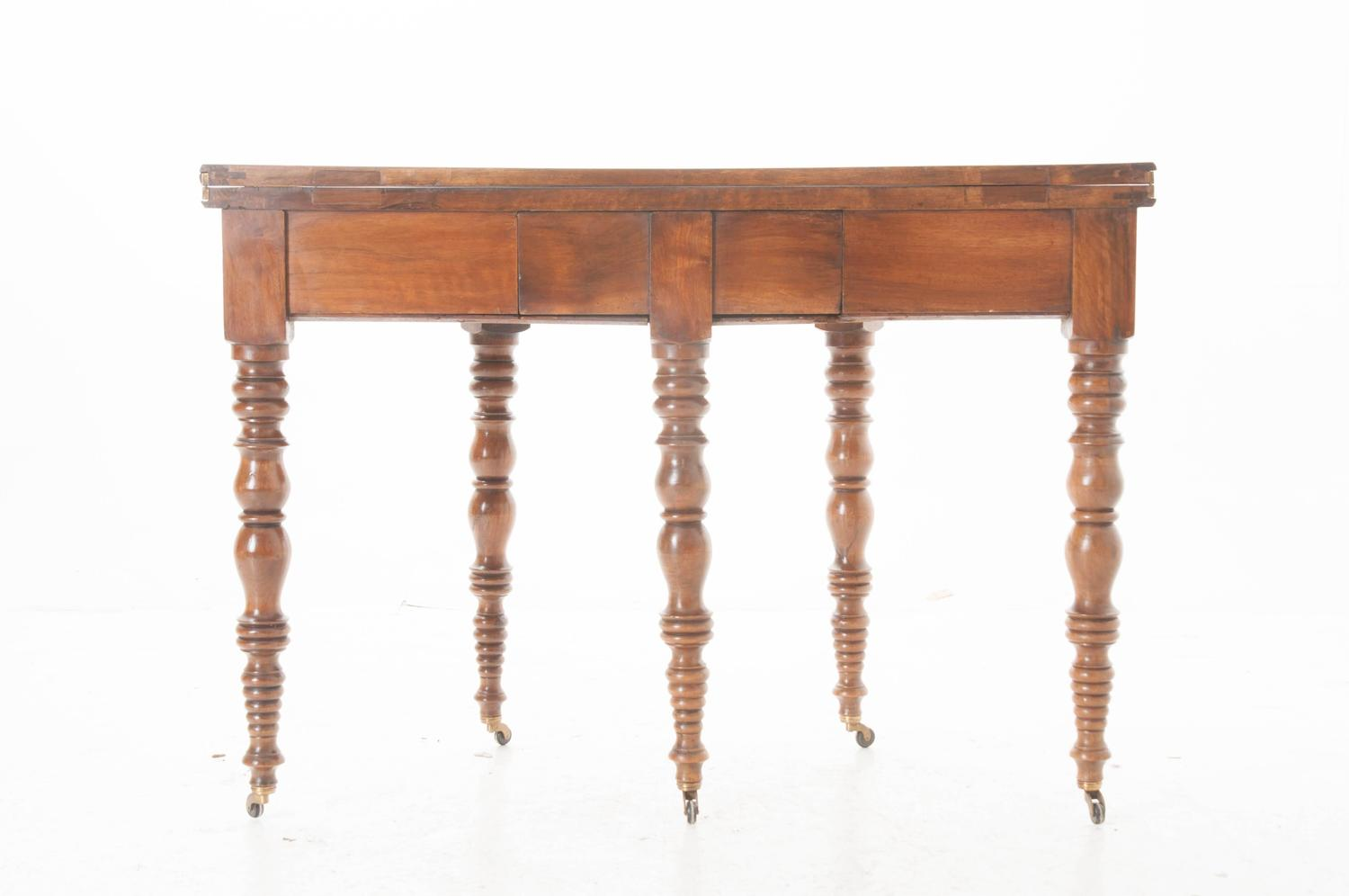 French 19th century folding demilune table with drawer at for Demilune console table with drawers