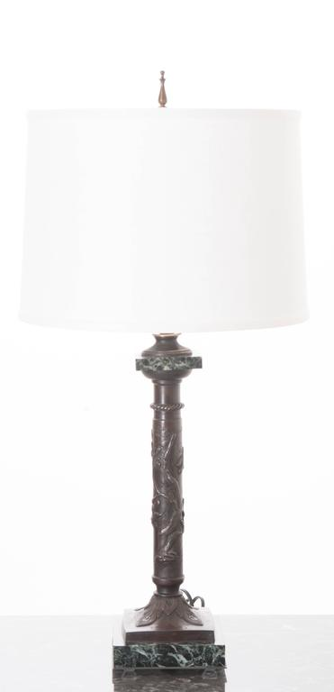 French 19th Century Bronze and Marble Decorative Lamp For Sale 4