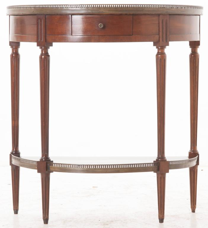 French 19th century louis xvi demilune console with white marble top at 1stdibs White demilune console table