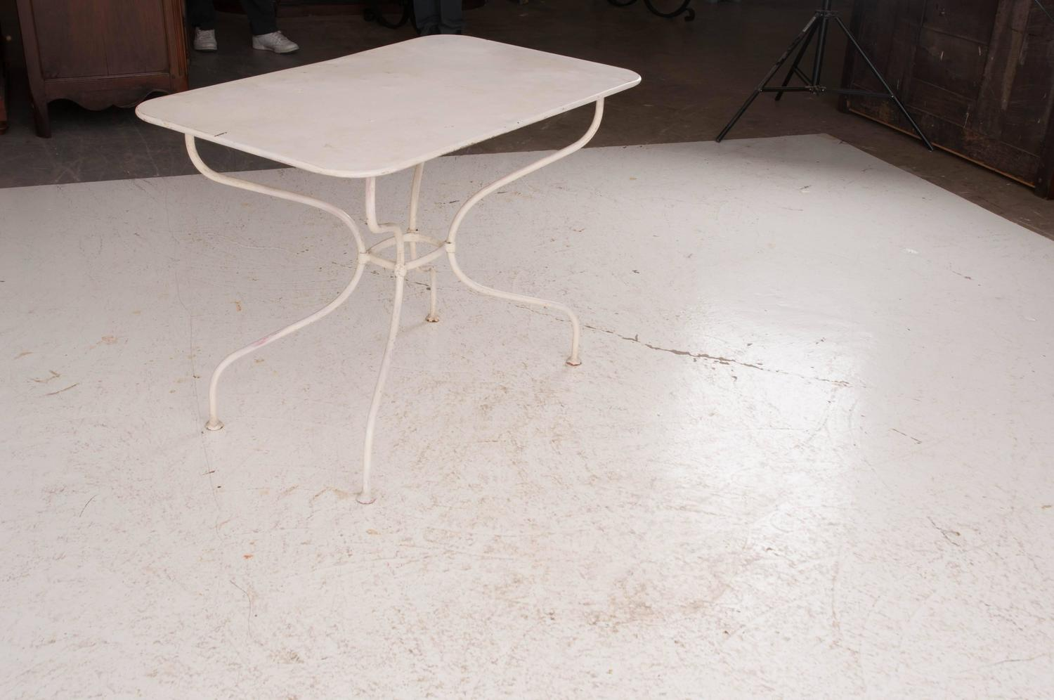 French Vintage Painted Metal Bistro Table For Sale At 1stdibs