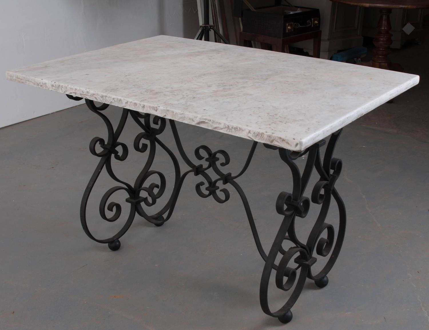 French 19th Century Iron Table With Marble Top For Sale At