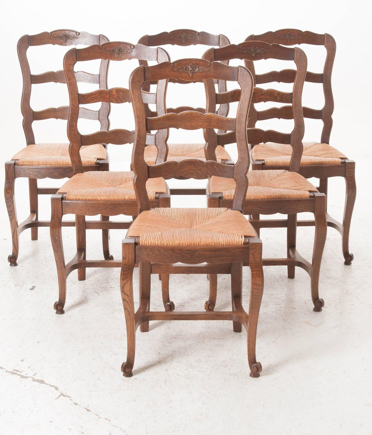Set of six french 1940s oak ladder back dining chairs for sale at 1stdibs - Ladder back dining room chairs ...