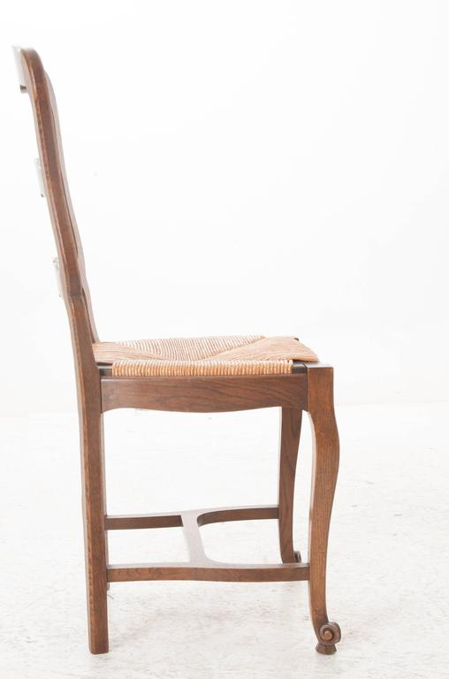 Set Of Six French 1940s Oak Ladder Back Dining Chairs At