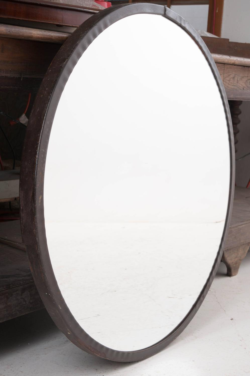 pair of 20th century round metal frame mirrors for sale at 1stdibs. Black Bedroom Furniture Sets. Home Design Ideas