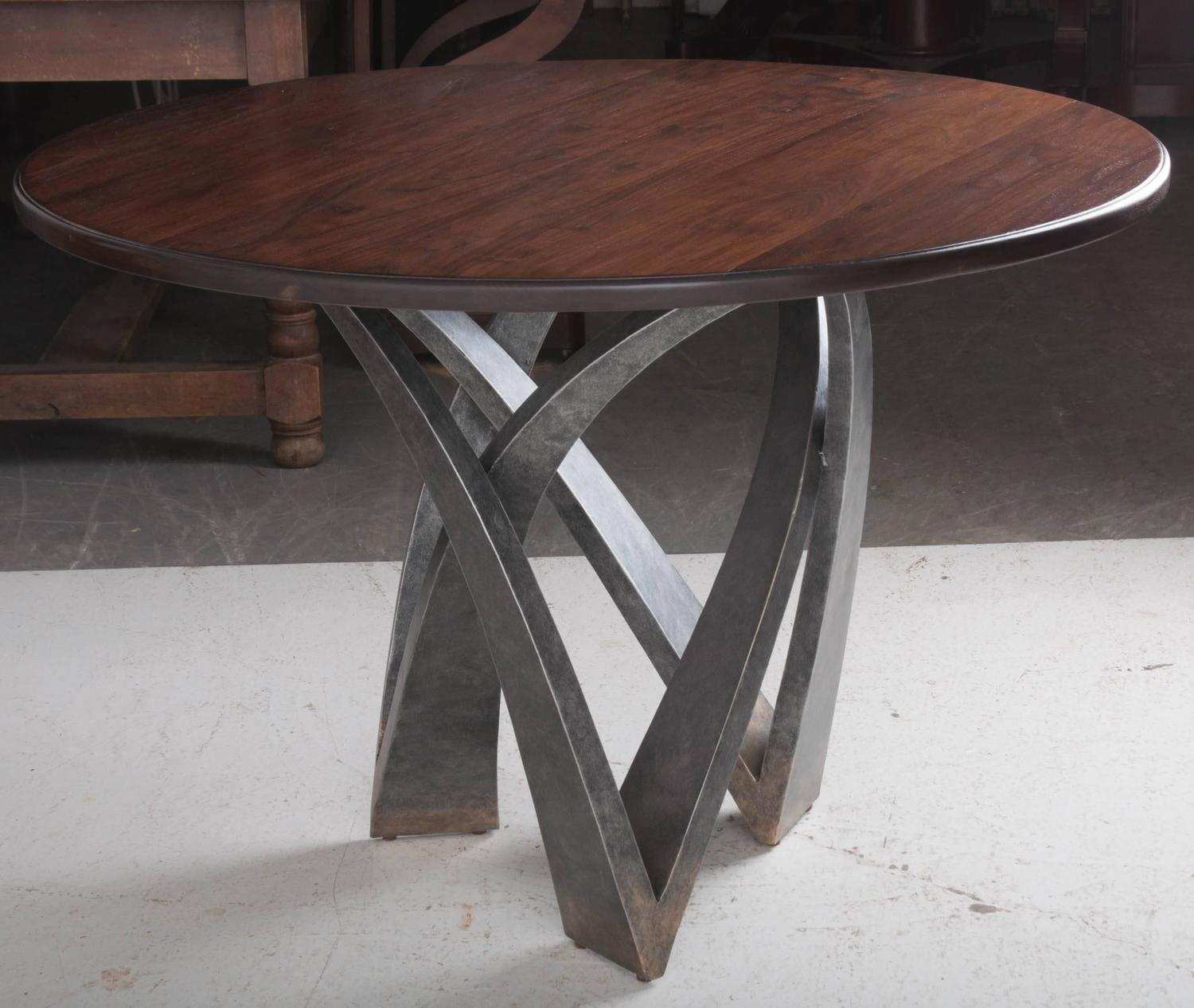 Round walnut top table with decorative metal base for sale at 1stdibs - Decorative metal table bases ...