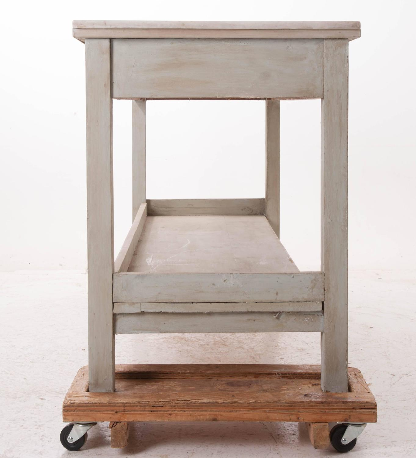 French Vintage Marble Top Pastry Chef S Table For Sale At