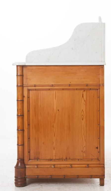 French 19th Century Pine Faux Bamboo Dressing Table With