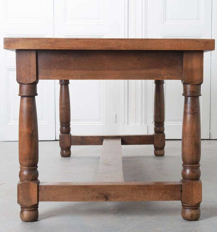 French 19th Century Walnut Farm Table With Three Drawers For Sale 3