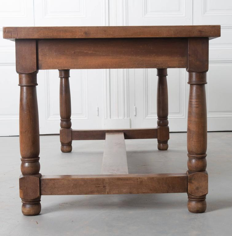 French 19th Century Walnut Farm Table With Three Drawers