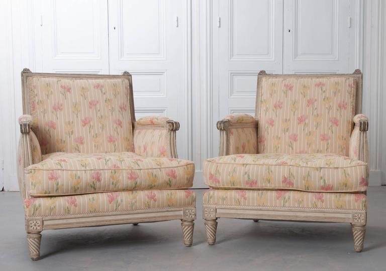 A lovely pair of French painted bergères with square backs made in the 19th century. The original paint is aged with wear and life experience. The pair of chairs sit low with squat, spiral carved feet lifting it from the ground. The frame is sturdy