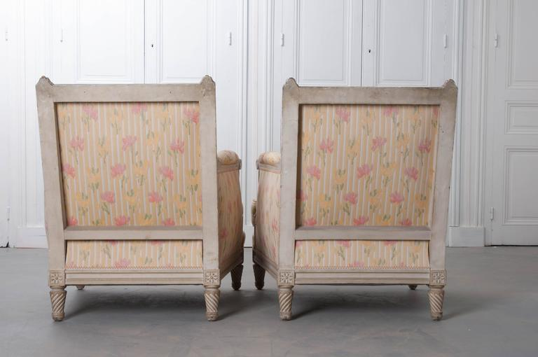 Pair of French Painted Louis XVI Style Bergères For Sale 6