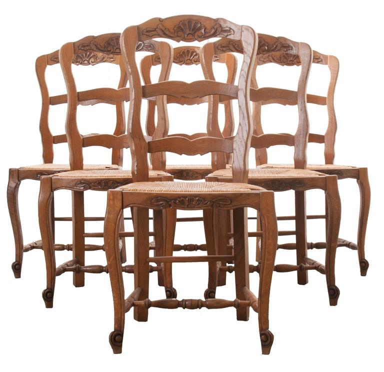 Set Of Six French Rush Seat Chairs
