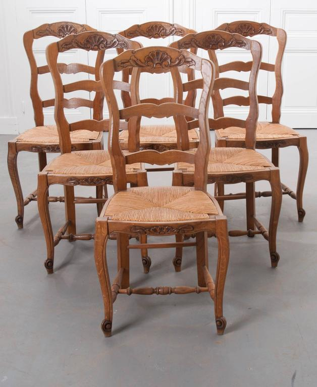 A charming set of six French oak ladder back chairs made in the 1940s. A beautiful carved shell cartouche with foliate accents graces the chairs' top rails. The rush seats have a height of 18