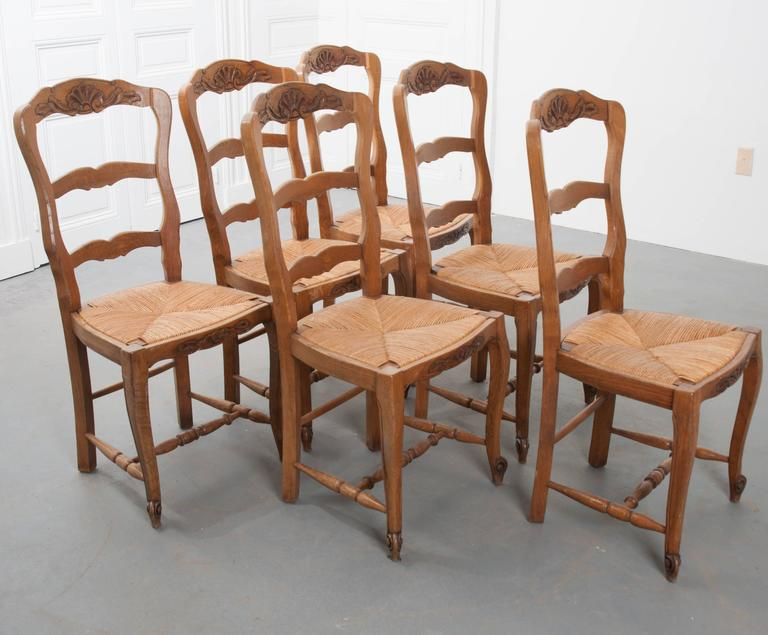Set of Six French Rush Seat Chairs 3