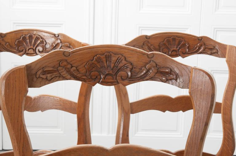 20th Century Set of Six French Rush Seat Chairs For Sale