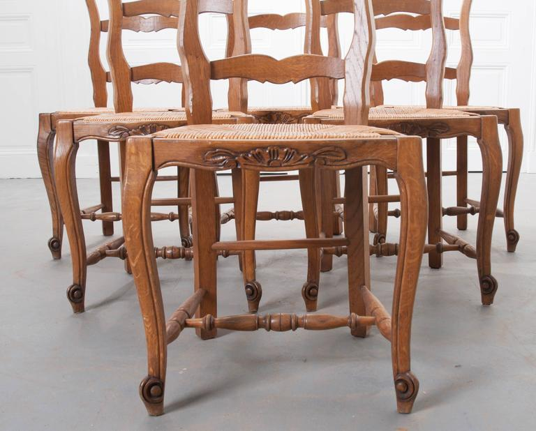 Set of Six French Rush Seat Chairs For Sale 1