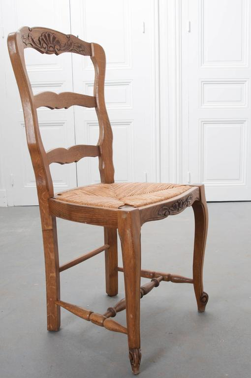 Set of Six French Rush Seat Chairs For Sale 2