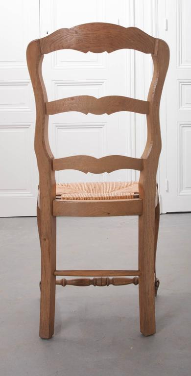 Set of Six French Rush Seat Chairs For Sale 4