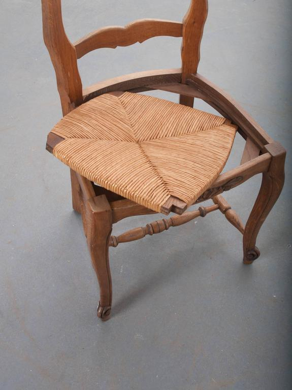 Set of Six French Rush Seat Chairs For Sale 5