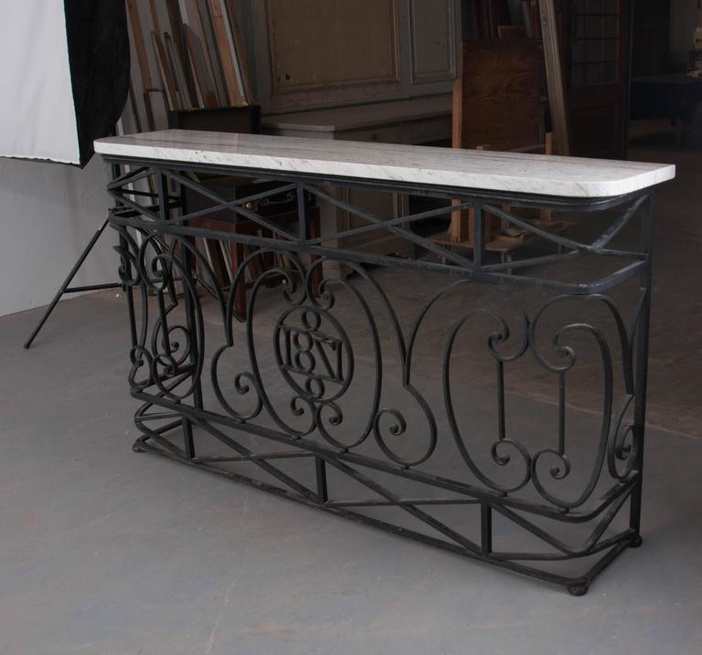 French 19th century iron balcony console with marble top for Balcony console