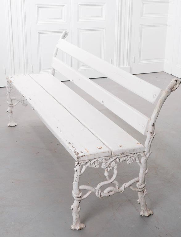 French 19th Century Painted Iron and Wood Garden Bench 3