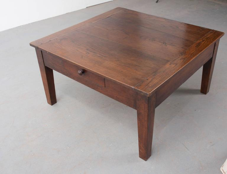 English 19th Century Square Oak Coffee Table For Sale At 1stdibs