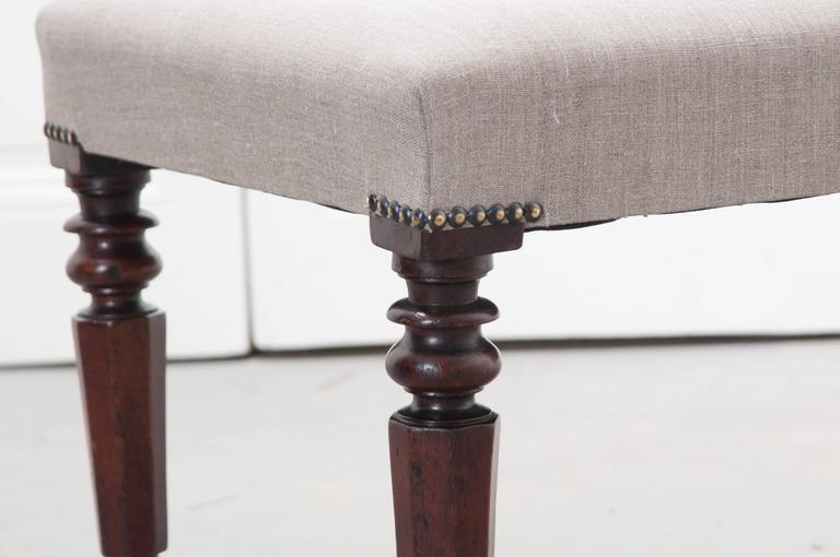 English 19th Century Upholstered Mahogany Bench For Sale 1