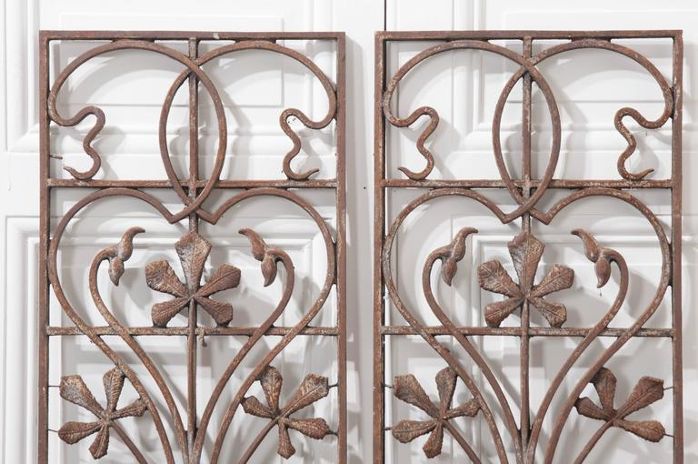 Wrought Iron Wall Panels: Pair Of Early 20th Century Art Nouveau Wrought Iron Panels