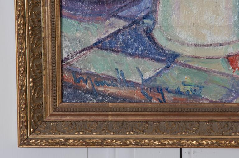 Hardwood Framed 19th Century French Oil Painting For Sale
