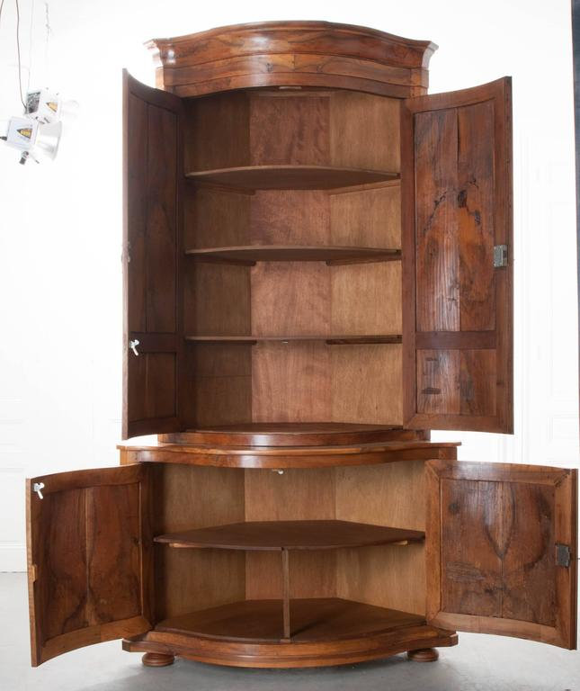 Pair of french 19th century walnut corner cabinets for for 19th century kitchen cabinets