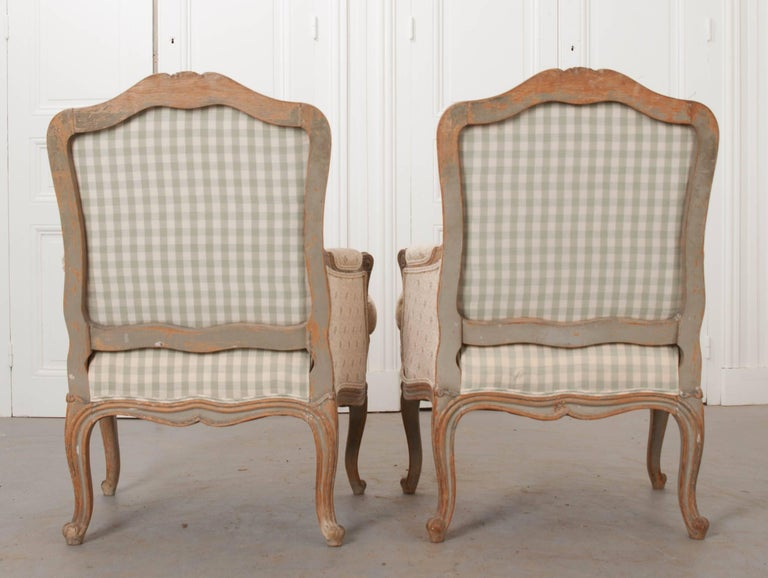 Pair of 19th Century French Louis XV Bergères For Sale 5