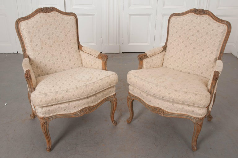 Pair of 19th Century French Louis XV Bergères For Sale 2