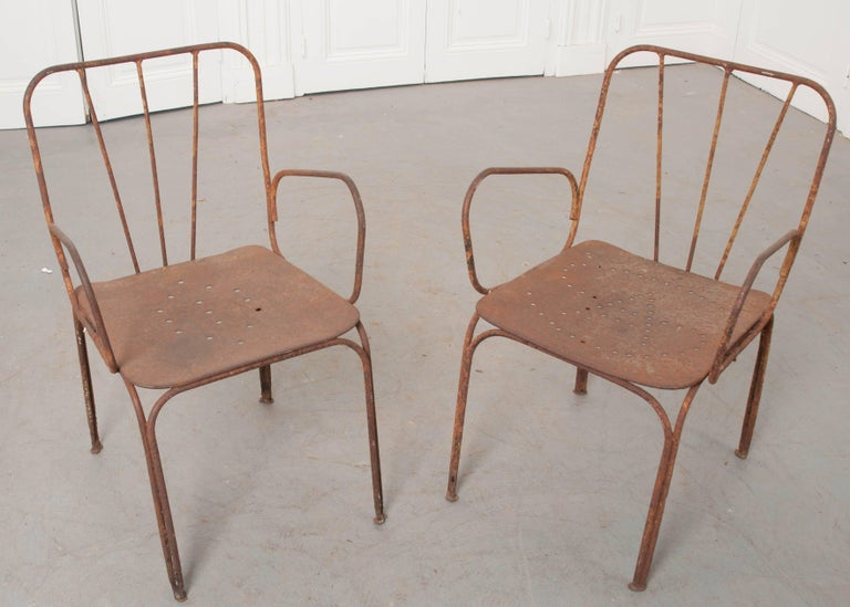 Pair of early 20th century french metal chairs for sale at for French furniture designers 20th century