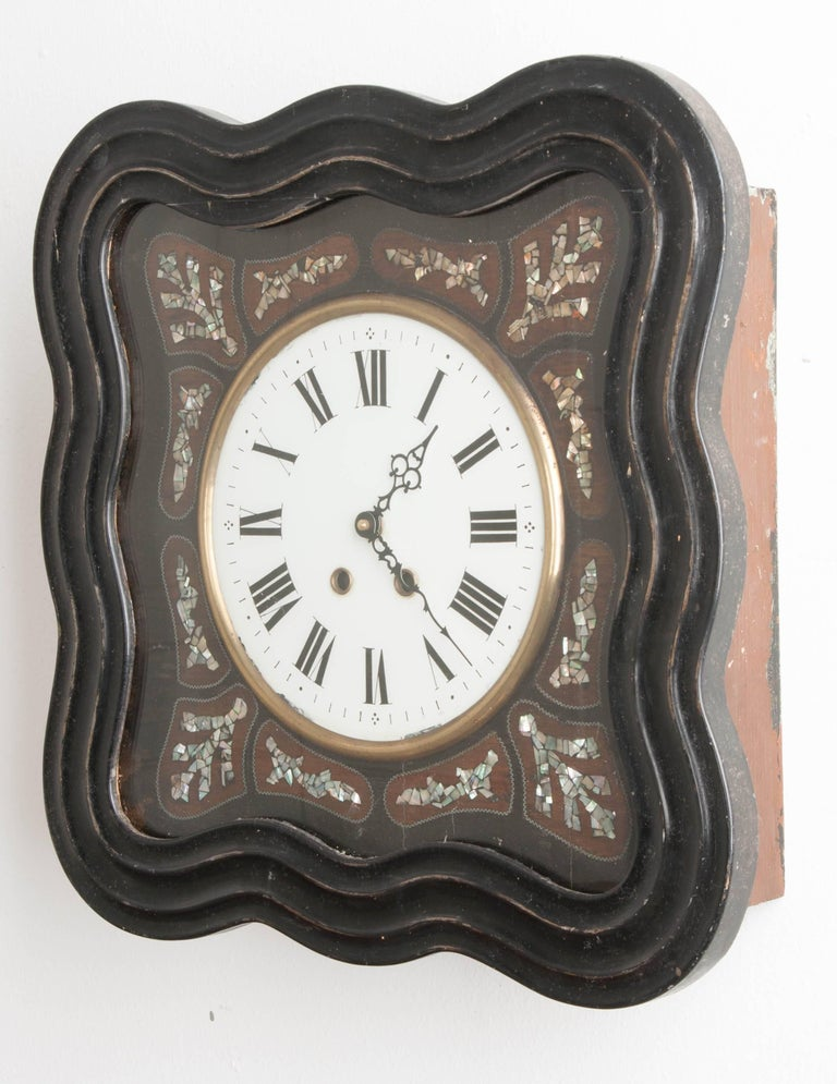 French 19th Century Napoleon III Inlay Wall Clock For Sale 2